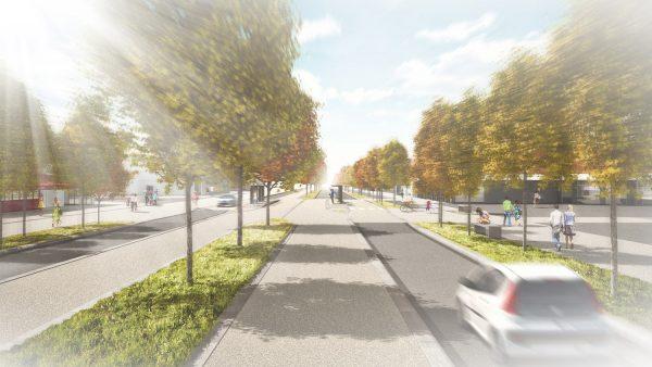 Anglet - avenue de Bayonne avec l'arrivée du Tram'bus ©Arotcharen architecte