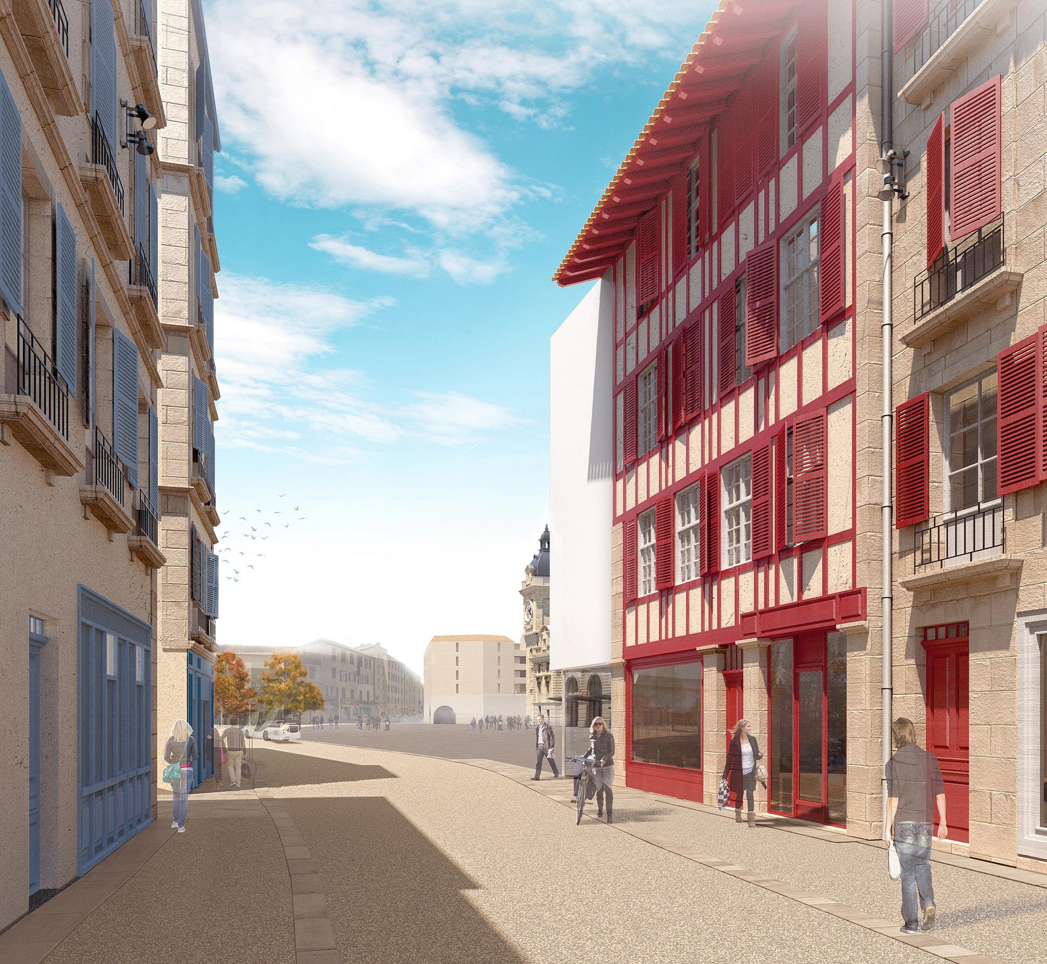 Rue Maubec Bayonne avec l'arrivée du Tram'bus ©Arotcharen architecte