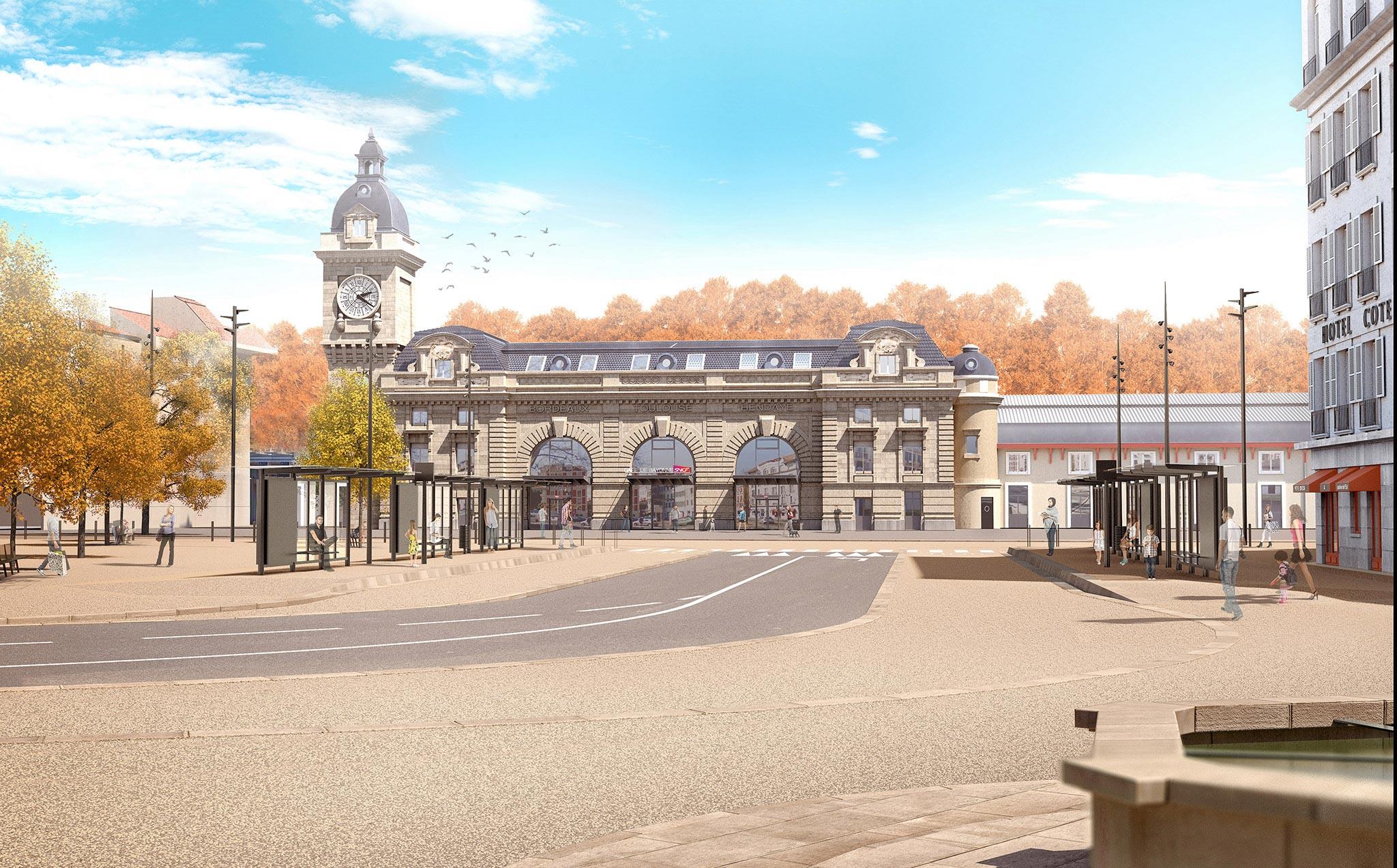 Gare de Bayonne place Pereire avec l'arrivée du Tram'bus ©Arotcharen architecte