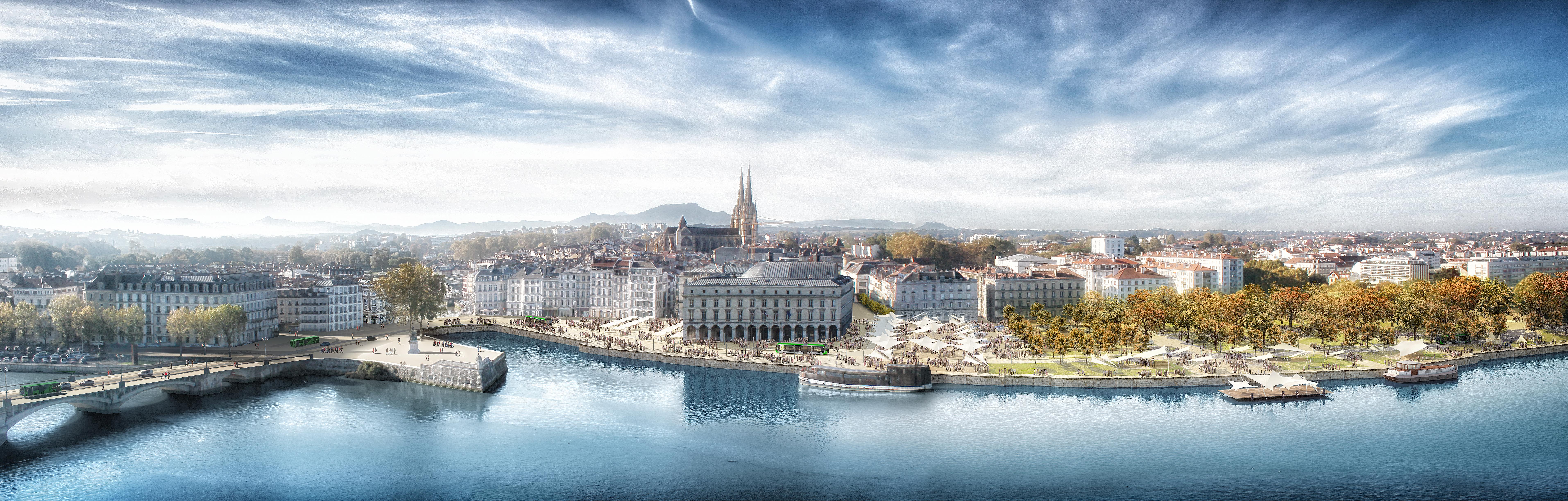 Vue Bayonne centre-ville. Le Tram'bus passera en bord d'Adour ©Arotcharen architecte