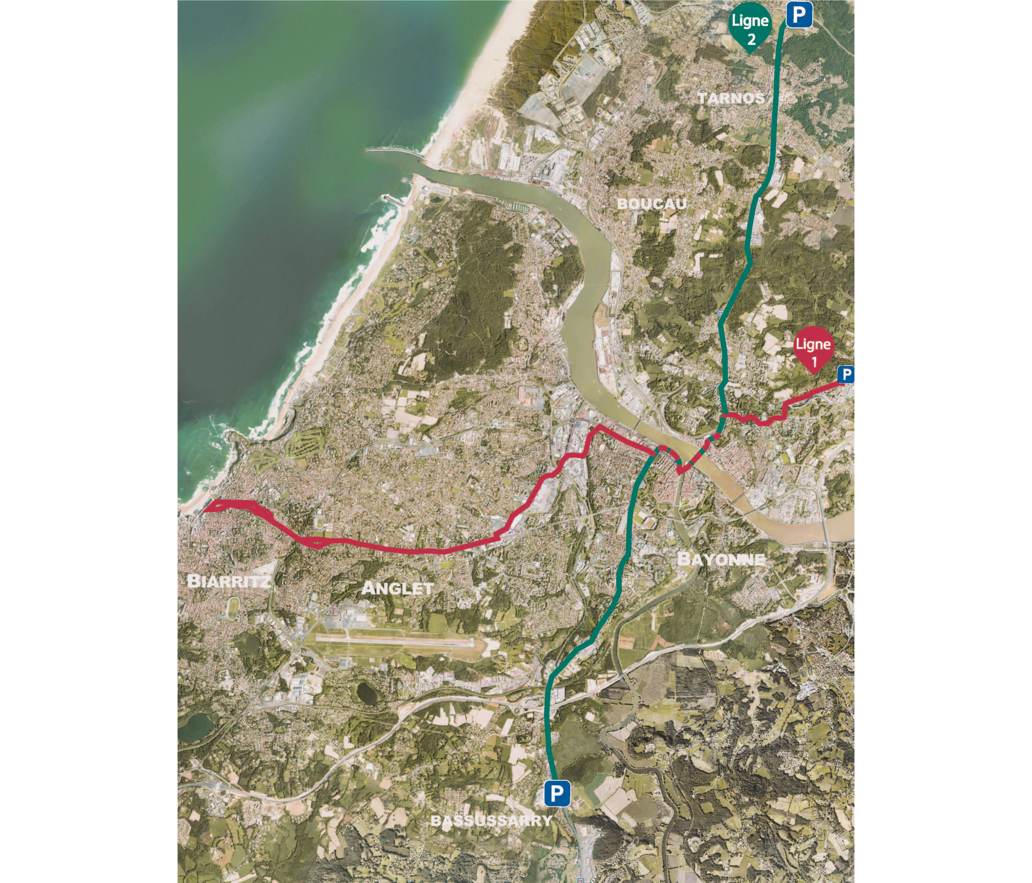 Tram'bus Plan des 2 lignes