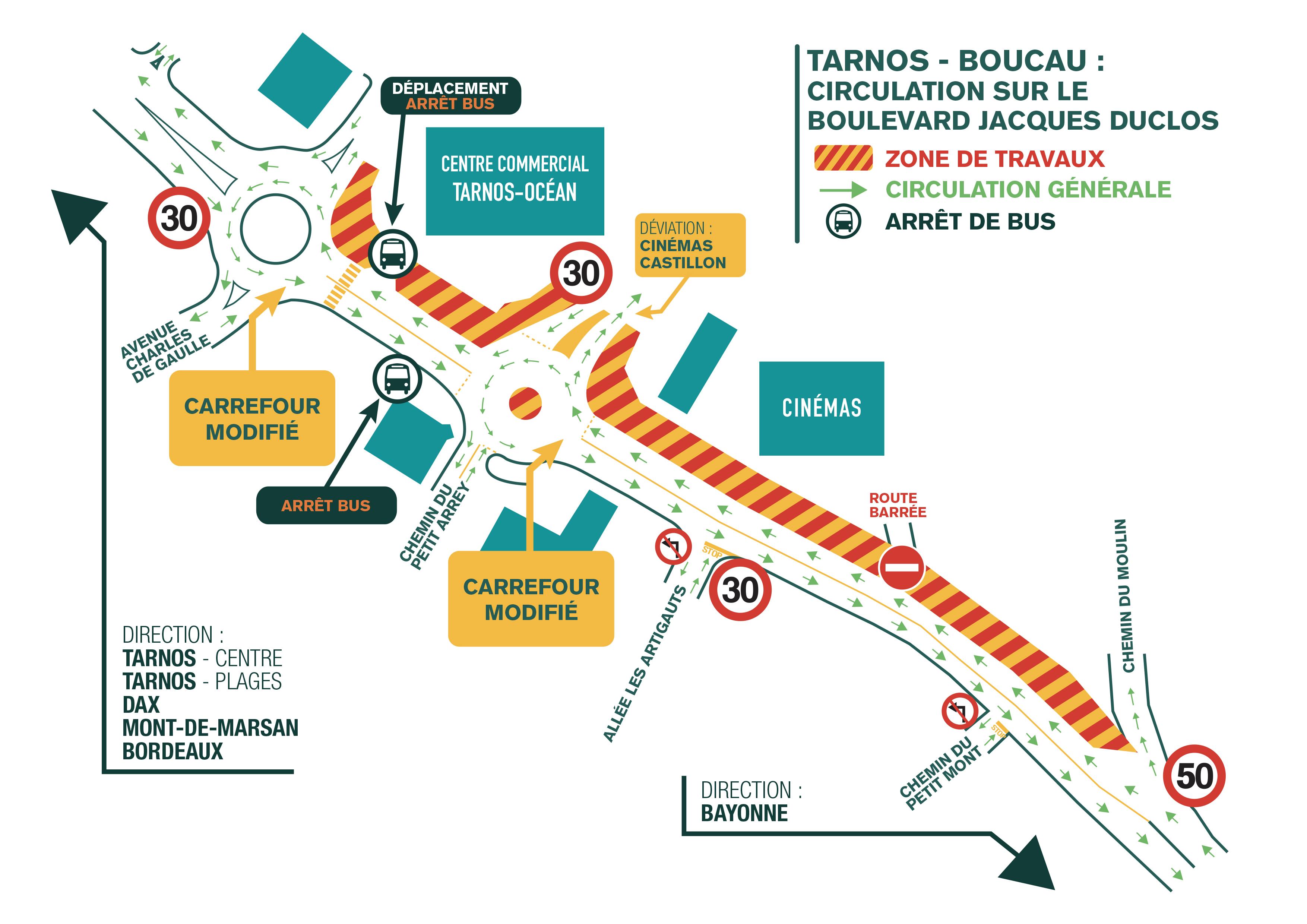 Schéma de circulation RD810 Tarnos Boucau